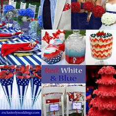Red, White and Blue Wedding Colors - For a Memorial Day or July 4 wedding, you might want to consider this combination. It also works for a military wedding. July Wedding Colors, July 4th Wedding, Red Wedding, Wedding 2015, Wedding Wishes, Blue Wedding Decorations, Wedding Themes, Wedding Ideas, Wedding Inspiration