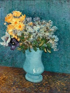 off Hand made oil painting reproduction of Vase With Lilacs Daisies And Anemones, one of the most famous paintings by Vincent Van Gogh. In Vincent Van Gogh moved to Paris where he remained for about two years and painted . Fleurs Van Gogh, Van Gogh Flowers, Vincent Van Gogh, Art Van, Art Floral, Flower Vases, Flower Art, Desenhos Van Gogh, Van Gogh Arte