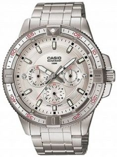 Casio Mens MTD1068D-7AV Silver Stainless-Steel Quartz Watch with Silver Dial