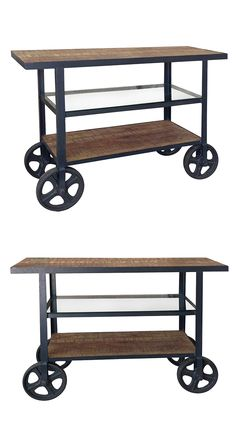 Serve up a taste of vintage-inspired style with this rustic utility cart. Made with solid pine and glass shelving and all-metal framing, this Honecker Cart is perfect for use in a traditional or transi...  Find the Honecker Cart, as seen in the Rustic Luxe in Park City Collection at http://dotandbo.com/collections/rustic-luxe-in-park-city?utm_source=pinterest&utm_medium=organic&db_sku=117619