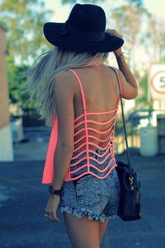 Neon backless shirt.