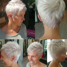 Love when i see multi angles of cuts. by nothingbutpixies Edgy Short Hair, Shaggy Short Hair, Super Short Hair, Short Pixie, Short Hair Cuts, Pixie Cuts, Pixie Hairstyles, Pixie Haircut, Cool Hairstyles