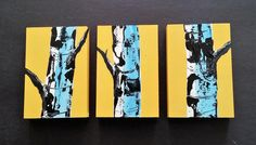 """WHITE BIRCH TREE - Original Acrylic Landscape Painting, (3) 4"""" x 6"""" Panels Modern Art, Taxi Cab Yellow Original Painting. Size: (3) 4"""" x 6"""" 1.50"""" profile Medium: Winsor & Newton Acrylic Paints Canvas: Cradled Birch Plywood Board from Canada. No frame is necessary with this wrapped canvas. The painting is ready to hang as is. The artwork is signed on front by me. If you would like a different size of color please contact me. I will try to make it work for you. Thank you for looking today."""
