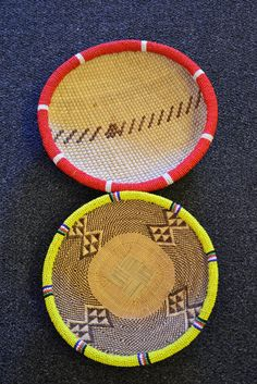 Beaded organic raffia and grass baskets Sisal, Grass, Hand Weaving, Baskets, African, Organic, Bowls, Decor, Products