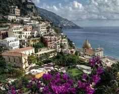 Positano looking back along the coast to Praiano. Amalfi Coast, Italy