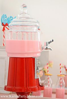 For a Candy themed party - how cute!  a Drink dispenser designed to look like a bubble gum machine!!