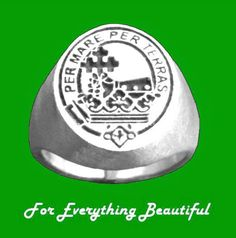 Clan Badge Engraved Oval Clan Crest 10K White Gold Mens Ring