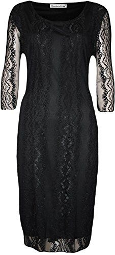 New Womens Plus Size Gorgeous 3/4 Sleeve Floral Lace Knee Length Party Dress (M-3X)