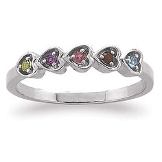 Sterling silver family hearts birthstone ring
