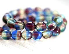 Glass beads Mix - czech purple blue round spacers, druk - 6mm - 30Pc - 0505