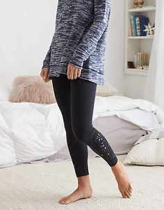 Aerie Chill Cutout 7/8 Legging, Charcoal Heather | Aerie for American Eagle