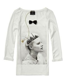 French Theme Long-Sleeved Tee With Mini Bow Tie