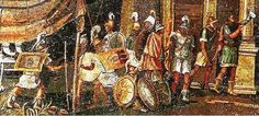 Macedo-Ptolemaic soldiers of the Ptolemaic kingdom, 100 BCE, detail of the Nile mosaic of Palestrina