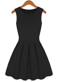 Graceful Black High Waist Pleated Tank Dress for Lady