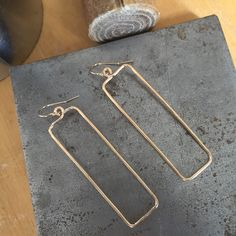 Rectangle hoop earrings. 14kt gold filled hoops on 14kt gold filled ear wires by MiiMyxJewelry on Etsy https://www.etsy.com/listing/226450370/rectangle-hoop-earrings-14kt-gold-filled