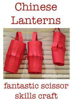 chinese lanterns paper lanterns - great scissor skills activity and fun Chinese New Year craft