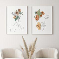 Wall Art Sets, Framed Wall Art, Artwork Prints, Canvas Prints, Plant Wall Decor, Extra Large Wall Art, Line Drawing, Printable Art, Line Art
