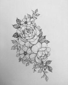 Bild Tattoos, Mom Tattoos, Future Tattoos, Body Art Tattoos, Tattoos For Women, Floral Back Tattoos, Floral Tattoo Design, Flower Tattoo Designs, Flower Tattoo Drawings