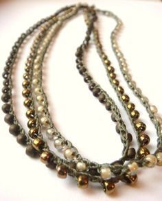 Sage Green Beaded Crochet Necklace Olive Brown by TamiLopezDesigns, $25.00