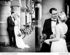 Brautpaar bei Hochzeitsfotoshooting hinter der Lambertikirche auf dem Prinzipalmarkt in Münster