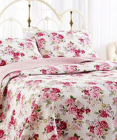 Beautiful bedspread for shabby chic.   #zulily! Pink Lidia Quilt Set by Laura Ashley Home #zulilyfinds