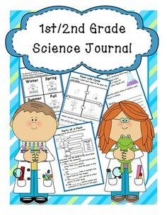 First/Second Grade Science Journal-  38 pages of Comprehensive Science Journal Entries covering various Science topics.  Entries are informational and can be easily used as review at the end of the week for each concept.  They are also arranged two to a page to save paper from printing and copying.