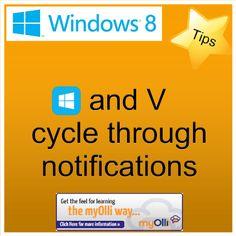 Windows 8: Tip- Press Windows Key + V cycle through notifications. Source: www.theittrainingsurgery.com Windows 8 Tips, Snap App, Z Show, Start Screen, Open App, Language, Feelings, Learning, Apps