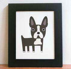 "Boston Terrier art print. 8"" x 10"". $13.00, via Etsy."