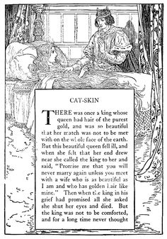 Cat-Skin - Black and White Illustration by Louis Rhead from 'Grimm's Fairy Tales – Stories and Tales of Elves, Goblins and Fairies – with Louis Rhead Illustrations' originally published in 1917