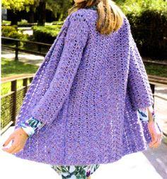 saco folk tejido en crochet en tono lila Diy Crochet, Crochet Top, Crochet Ideas, Crochet Baby Sandals, Crochet Cardigan, Summer Wear, Pull, Crochet Patterns, Boho