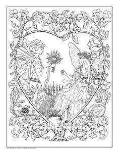 Free fairy coloring page by Ruth Sanderson Fairy Coloring Pages, Coloring Pages To Print, Free Printable Coloring Pages, Coloring Books, Coloring Sheets, Free Adult Coloring, Mandala Coloring, Fantasy, Illustration