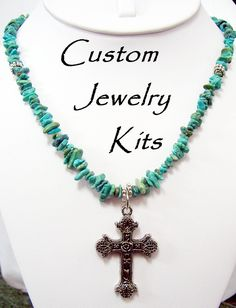 Turquoise w cross necklace kit w large silver plated cross, silver plated spacer beads & genuine turquoise. EASY all incl. beginner friendly by LovelyDawn on Etsy Diy Jewelry Making Kits, Diy Jewelry Kit, Making Jewelry For Beginners, Diy Jewelry Unique, Custom Jewelry, Diy Necklace Kit, Initial Necklace, Turquoise Beads, Turquoise Necklace