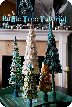 I have had a few requests for a tutorial for the Ruffle Tree I did in my Living Room.  So the other day I made a little Ruffle Tree forest!!