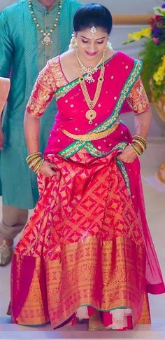 Traditional Do this to heavy lehengas. add tulle or make a skirt that'll help it poof out Lehenga Saree Design, Half Saree Lehenga, Kids Lehenga, Saree Dress, Anarkali Gown, Lehenga Blouse, Indian Party Wear, Indian Bridal Wear, Indian Wear