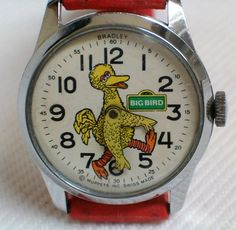 Vintage Big Bird Sesame Street Character Watch By Bradley Time, Swiss Made, Analog (Mechanical - Hand Wind), Original Red Plastic Band Big Bird Sesame Street, Sesame Street Characters, Fraggle Rock, Mechanical Hand, Red Band, Vintage Watches, Vintage Toys, Children's Watches, Alarm Clocks