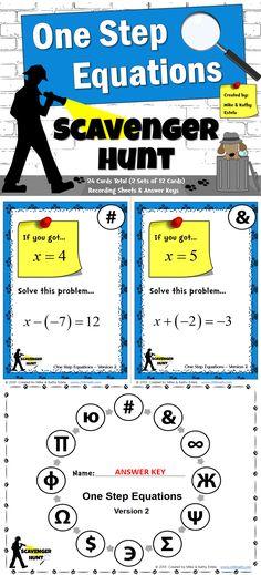 One-Step Equations {Scavenger Hunt} $