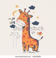 Hand drawn  vector illustration of cute giraffe slipping in the night/can be used for kid's or baby's shirt design/fashion print design/fashion graphic/t-shirt/kids wear