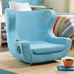 A chair that allows your charge your electronic device and also has a standard audio jack to listen to music.