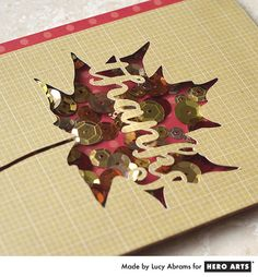 Autumn Leaf Shaker Card by Lucy Abrams for Hero Arts made with the Silhouette