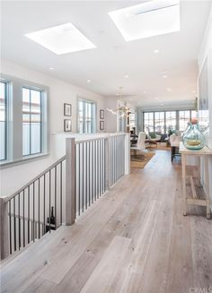 Cottage Hallway with Walnut - Shell White 5 in. Engineered Hardwood Wide Plank, High ceiling, Hardwood floors click the image for more details. House Design, New Homes, House, White Oak Plank Floors, Hardwood Floor Colors, Home, Home Renovation, House Flooring, Cottage Hallway