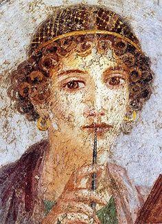 Sappho of Lesbos. Roman fresco from Regio VI (insula occidentalis) in Pompeii Pompeii, Herculaneum, Fine Art, Ancient, Painting, Art, Fresco, Portrait, Art History