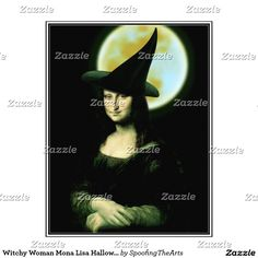 SOLD! Witchy Woman Mona Lisa Halloween Letterhead by #SpoofingTheArts  #gravityx9 #Zazzle