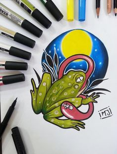 #rana #frog #lago #palude #cartoon #sketch #sketchcartoon #flash #drawing #illustrationi #disegni #arte #flashtattoo #illustrationitattuaggi #tattoo #tatuaggi #mrjacktattoo #pantoni