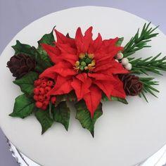 Christmas Flowers, Christmas Sweets, Christmas Baking, Christmas Cookies, Christmas Parties, Sugar Paste Flowers, Icing Flowers, Buttercream Flowers, Christmas Cake Designs