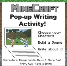 Minecraft pop-up writing activity. Create a pop-up book with your class based on the video game Minecraft. Print, Cut, Fold, Paste & Write!  Great for reading, writing, early finishers, individual work, etc.