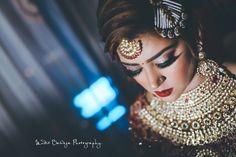 "Photo from Epic Snaps By Mudit Baweja ""Wedding Photography"" album Bridal Make Up, Wedding Make Up, Bun Hairstyles, Wedding Hairstyles, Red Lip Makeup, Photography Packaging, Wedding Preparation, Gold Choker, Wedding Photography"