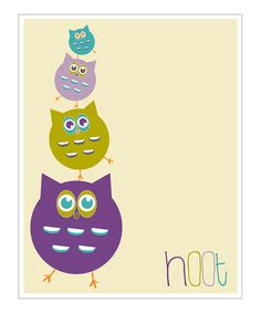 Take a look at this Cream & Purple 'Hoot' Giclée Print by Finny and Zook on #zulily today!