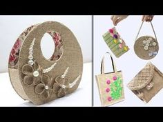 5 Jute bags making at Jute Fabric, Fabric Gifts, Fabric Bags, Diy Jute Bags, Jute Tote Bags, Burlap Crafts, Craft Bags, Crafts To Make And Sell, Jute Twine