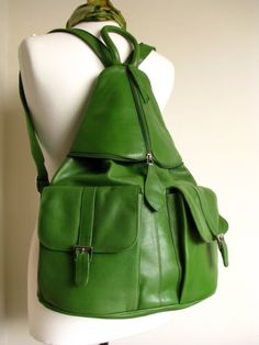 Large Kelly Green Leather Backpack  by TheLeatherStore on Etsy