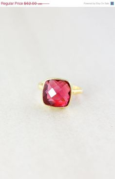 SALE Gold Red Ruby Quartz Gemstone Ring - Stackable Ring - Cushion Cut